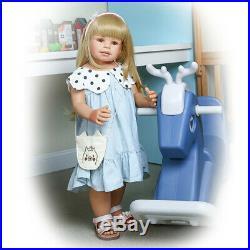 Reborn Toddler Girl Dolls Vinyl Full Body Realistic Long Hair Paseable Baby 28in