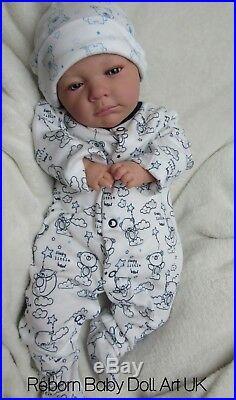Reborn baby Doll BOY Marcus 18 Blue eyes