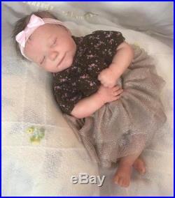 Reborn baby girl doll realborn bountiful baby june asleep sleeping human hair
