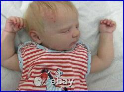 Reborn babydoll, Realborn Jennie asleep, Super realistic doll. ThumperDolls