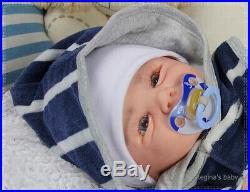 Regina's baby reborn doll Vivienne by Sandy Faber it is a BOY 20' HUMAN hair
