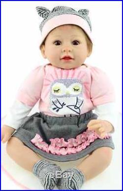 SanyDoll Reborn Baby Doll Soft Silicone 22inch 55cm Lovely Lifelike Cute Baby
