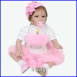 Silicone Reborn Baby Doll Soft vinyl 22'' Lifelike Full Handmade Newborn Body