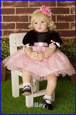 Silicone Reborn Baby Dolls Lifelike gold Full wig Toddler 22 Handmade Vinyl