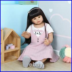 Standing Reborn Toddler Dolls Girl Full Vinyl 28 Realistic Baby Dolls Long Hair