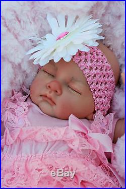 Stuning Reborn Baby Girl Doll Ruffle Romper Sleeping Baby Sofia S145