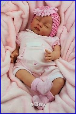 Stunning Baby Girl Reborn Doll Spanish Pink Collared Romper Butterfly Babies S
