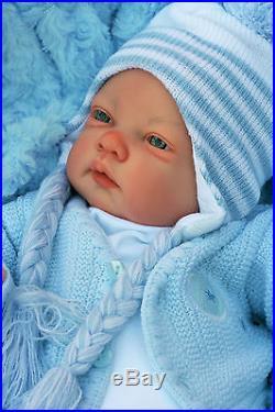 Stunning Reborn Baby Boy Doll Awake Stripe Pom Pom Outfit Celia C127