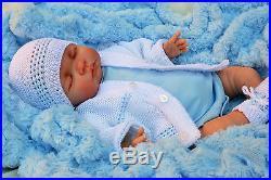 Stunning Reborn Baby Boy Doll Sleeping Spanish Cardigan, Hat, Bootees Molly M153