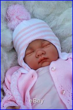 Stunning Reborn Baby Girl Doll Asleep Stripe Pom Pom Outfit Sofia