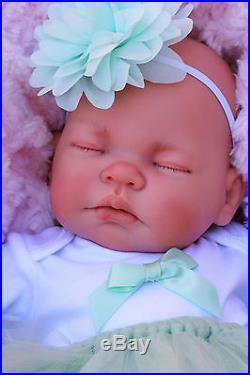Stunning Reborn Baby Girl Doll Mint Tutu Sleeping Baby Molly M155