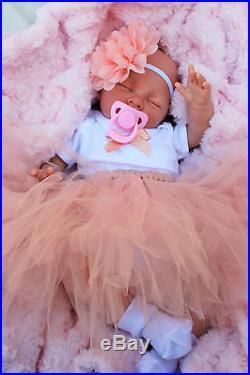 Stunning Reborn Baby Girl Doll Peach Tutu Sleeping Baby Sofia S144