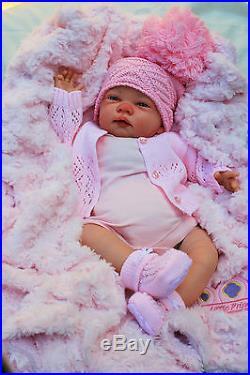 Stunning Reborn Baby Girl Doll Pink Spanish Pom Pom Hat   Dummy Celia C123 73f1ef8ee1a