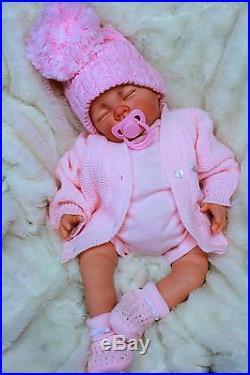Stunning Reborn Baby Girl Doll Pink Spanish Pom Pom Hat & Dummy S997