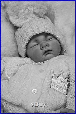 Stunning Reborn Baby Girl Or Boy Doll White Spanish Pom Pom Hat & Dummy S996
